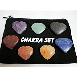 Heart Shaped Chakra 7 Stones Sets Chakra Balancing Reiki Healing Energy Aura w/Pouch Spiritual Metaphysical Divine Psychic Peace Progress Crystal Therapy