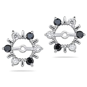 0.55 Ct White & Black Diamond Earring Jackets in 14K White Gold