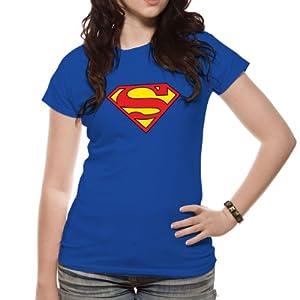t shirt femme bleu superman logo superman. Black Bedroom Furniture Sets. Home Design Ideas