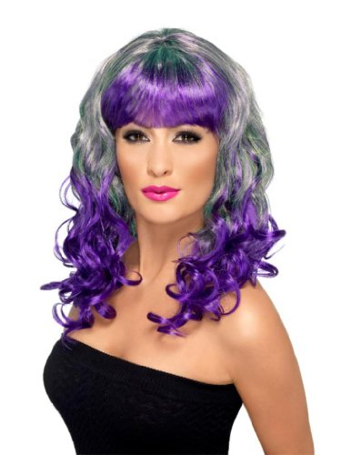 Smiffy's Divatastic Wig, Green/Purple, One Size
