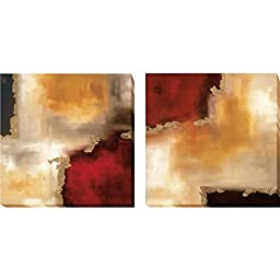 Crimson Accent I & II by Maitland 2-pc Premium Gallery Wrapped Canvas Giclee Art Set (Ready-to-Hang)