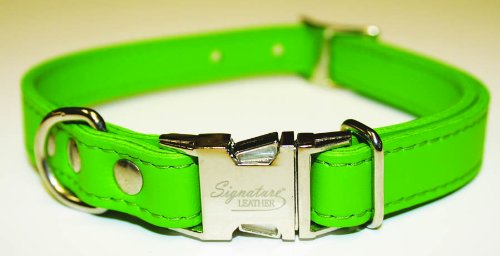 Leather Brothers Signature Leather Dog Collar, Medium, Emerald Green