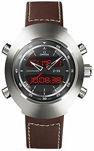 Omega Speedmaster Spacemaster Z-33 Black Analog-Digital Dial Brown Leather Chronograph Mens Watch 32592437901002