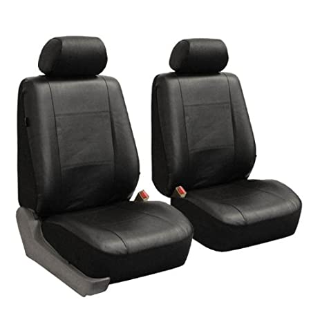 Classic Exquisite Leather Car Seat Covers, Airbag compatible and Split Bench, Solid Black color