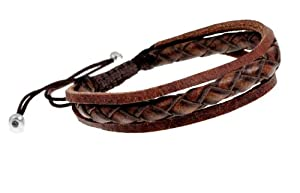 Stylish Braided Leather Multi Strand Adjustable Zen Bracelet in Gift Box