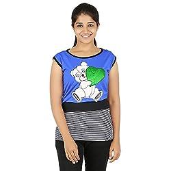 Knit Abc Garments Women's Character Top(KA-WTOP-HTG-22-BL-RBU-S_Multicolor_Small)