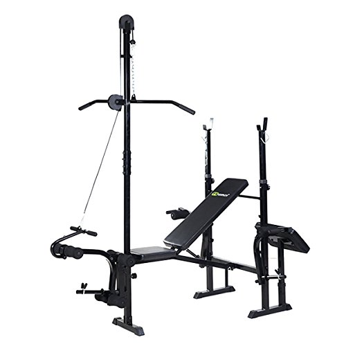 Goplus® Adjustable Foldable Weight Lifting Flat Bench Rack Set Fitness Exercise