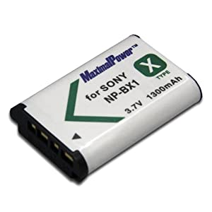 Maximal Power DB SON NP-BX1 Replacement Battery for Sony NP-BX1, NPBX1 and Sony Cyber-Shot DSC-RX1, DSC-RX100 Camera (White/Black)