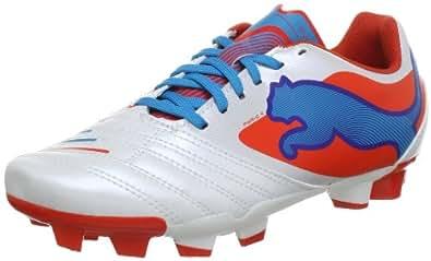 Puma PowerCat 4 FG Jr 102806, Unisex-Kinder Fußballschuhe, Weiß (metallic white-orange.com 02), EU 37 (UK 4) (US 5)