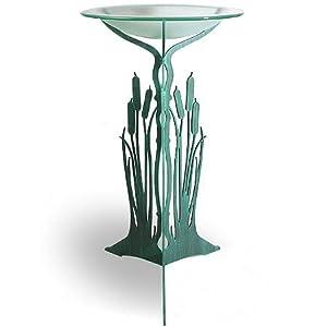 """Verdi Green Cattail Birdbath - Indoor/Outdoor Pedestal with Frosted Glass Bowl, 38"""""""