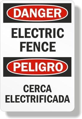 "Danger - Electric Fence -Cerca Electrificada Sign, 18"" X 12"""