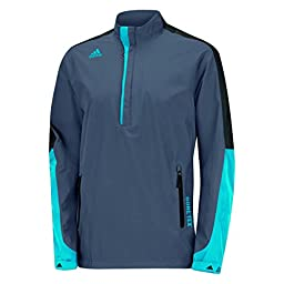 adidas Golf Men\'s Gore - Tex 2-Layer 1/2 Zip Jacket, Onyx/Black/Solar Blue, Large