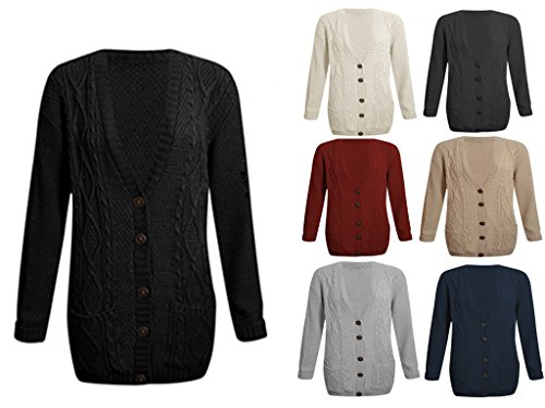 Fashion Valley Womens Long Sleeve Chunky Cable Knitted Button Ladies Grandad Long Cardigan 8-22 UK M/L 12/14 Black