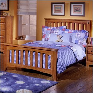 Image of Standard City Park Kids Wood Slat Bed Complete 5 Piece Bedroom Set in Cherry (4850-SB-PKG1)
