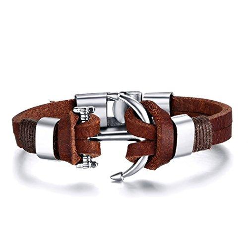 YC Top elegante Anchors braccialetto da uomo da polso in pelle