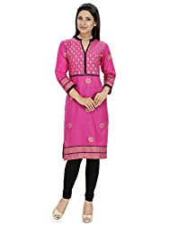 Tanvi Dark Pink Cotton Straight Kurti For Women