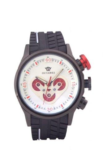 Ouyawei Men'S Unique Chrismas Gift Sport Rubber Strap Best Automatic Mechanical Wrist Watches