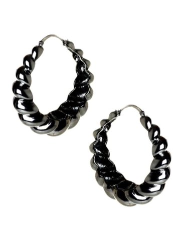 Belle Noel By Kim Kardashian Rams Horn Hoop Earrings - Gunmetal