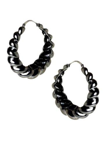 Belle Noel By Kim Kardashian Rams Horn Hoop Earrings - Gunmetal