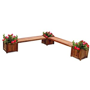 VIFAH V295 Outdoor Wood Double Bench and Flower Box Combo, Natural Wood Finish, 96 by 96 by 19-Inch (Discontinued by Manufacturer)