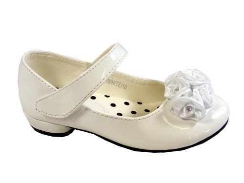 New Girls Kids White Floral Velcro Flats Shoes Party Wedding Shoe Size 10 11 12