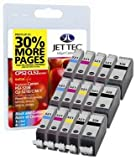 15 Jettec ink Cartridges To Replace CLI-521/PGI-520 - Cyan / Magenta / Yellow / Black / Black- Fully Chipped, Ready for Use- For use with Canon Pixma iP3600 iP4600 IP4700 MP540 MP550 MP560 MP620 MP630 MP640 MP980 MP990 MX860 MX870