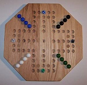 """Wooden Marble Game Board -Aggravation - 18""""Octagon, Red Oak - 4-Player 5-Hole Oiled -w/(8) Birch Inlaid SPOTS"""
