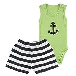 Hudson Baby Bodysuit & Shorts, Blue, 3-6 Months