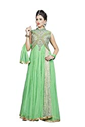 Angel Garments Women's Net Unstitched Dress Material (Green)