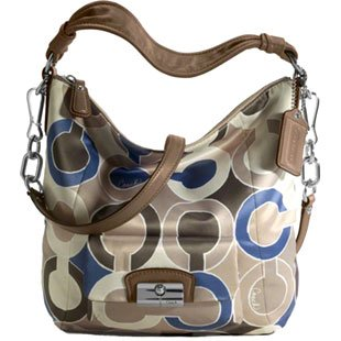 Coach Kristin Op Art Signature Outline Shoulder Hobo Bag Purse Tote Blue Multi