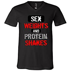 Sex Weights and Protein Shakes V-Neck T-Shirt