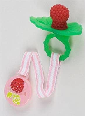 RazBaby Raz-Berry Teether Red with Pink Holder from Razbaby