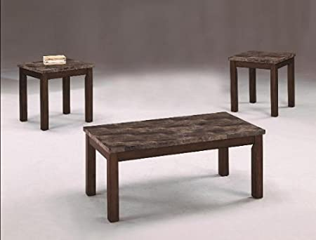 Brand New 3-pk Thurner Coffee Table and End Tables Cocktail set with Marble Top