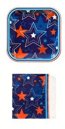 Patriotic Stars Party Plate and Napkins Set