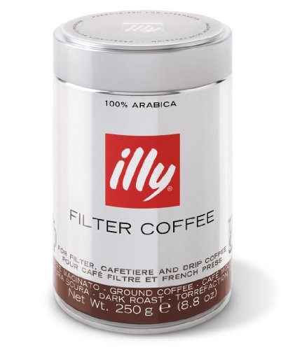 illy Dark Roast Filter Ground Coffee for Long Espresso and Filter 250 g (Pack of 2)