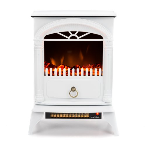 Hamilton Free Standing Electric Fireplace Stove - 22 Inch White Portable Electric Vintage Fireplace with Realistic Fire and Logs. Adjustable 800-1500W 400 Square Feet Space Heater Fan