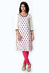 SPAN Girls Cotton OFF WHITE Kurta (Medium)