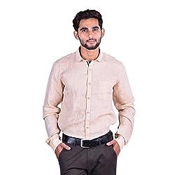 CORTOS Beige Linen Other Regular fit formal Solid Shirt (Size: Medium)