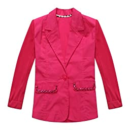 Richie House Big Girls\' Pink Jacket with Matching Rhinestone Accented Pockets RH0905-A-7/8
