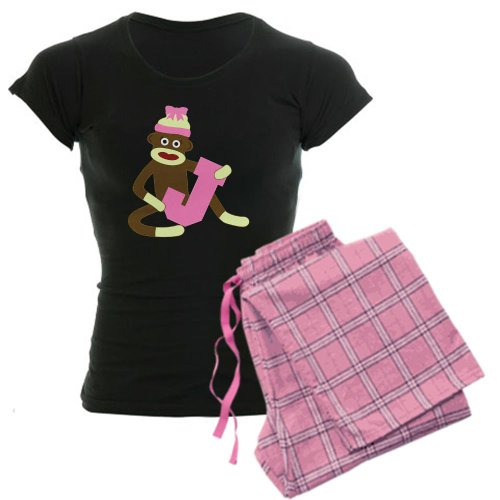 CafePress-Sock Monkey Monogram Girl J Women's Dark Pajamas-Womens Novelty Cotton Pajama Set, Comfortable PJ Sleepwear