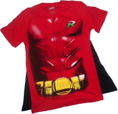 Robin -- Glitter Costume Juniors T-Shirt With Removable Cape