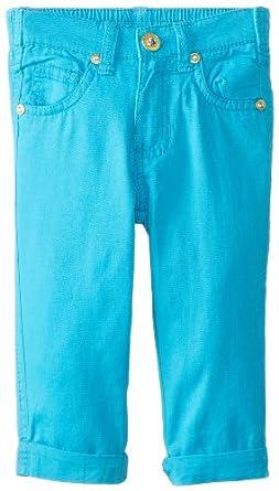 U.S. POLO ASSN. Little Girls' Skinny Roll Cuff Capri Pants, Surf Blue, 2T