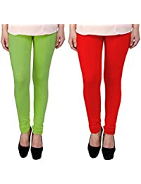 Snoogg Womens Ethnic Chic Inspired Churidar Leggings In Light Green And Red