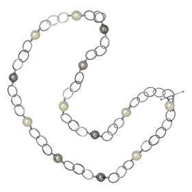 Majorica Jewelry 36&quot; Pearl and Silver Chain Necklace