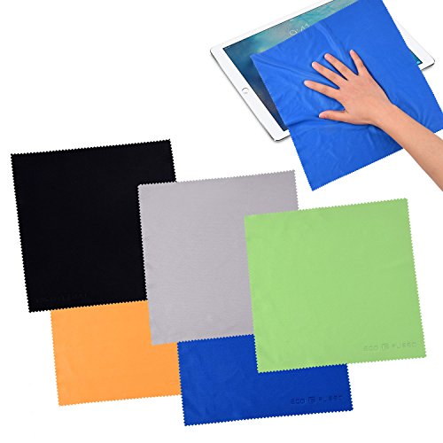 Eco-Fused 5 Extra Large Microfiber Cleaning Cloths (12 inch X 12 inch, Black Grey Green Blue Yellow)