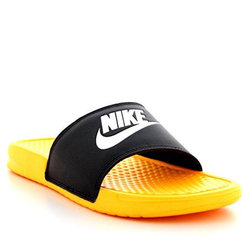 Mens Nike Benassi JDI Missmatch Sports Slides Lightweight Beach Sandals - Black/Laser Orange/White - 10 (Nike Slides Orange And Black compare prices)
