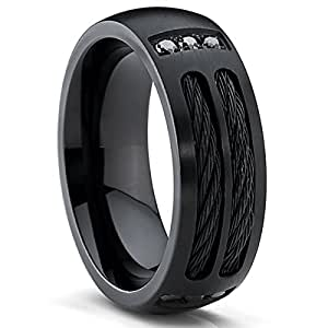 Black Titanium Men's Ring Band with Steel Cables and Black Cubic