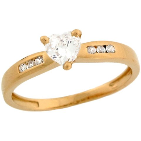 10k Yellow Gold White Heart .4ct CZ Ladies Promise Ring