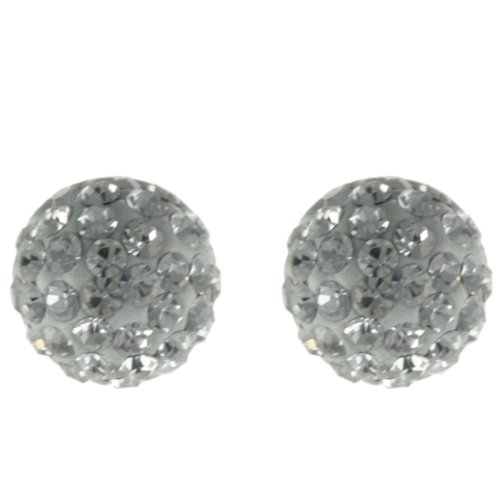 Adorable 14K Yellow Gold Half Ball White Crystal Stud Earrings!