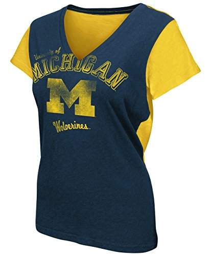 Michigan Wolverines Womens Fair Catch V-Neck T-shirt X-Large